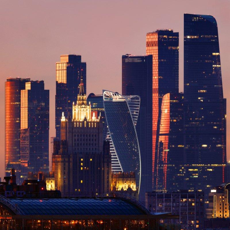 москва, мид, москва-сити, город, закат, веечр, пейзаж Вид на МИДphoto preview