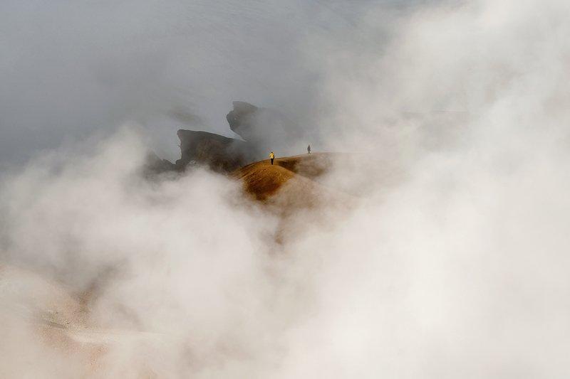 iceland, исландия, kerlingarfjöll, высокогорье исландии, icelandic highlands, highlands of iceland Клубы пара термальных источников. Highlands of Iceland.photo preview