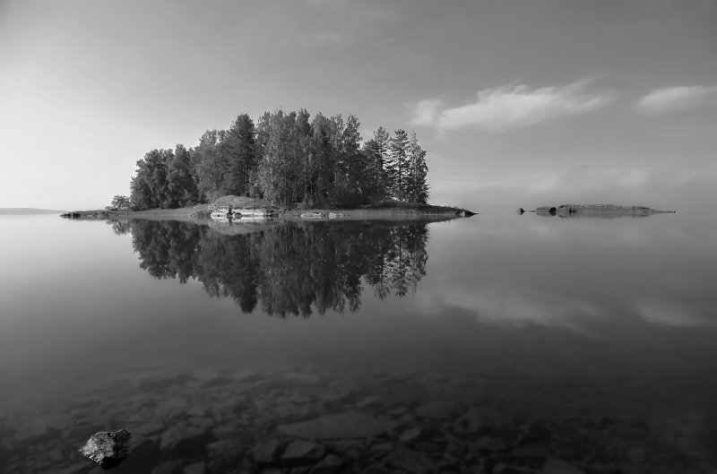 природа, лето,  пейзаж, ЧБ, Карелия Умиротворениеphoto preview