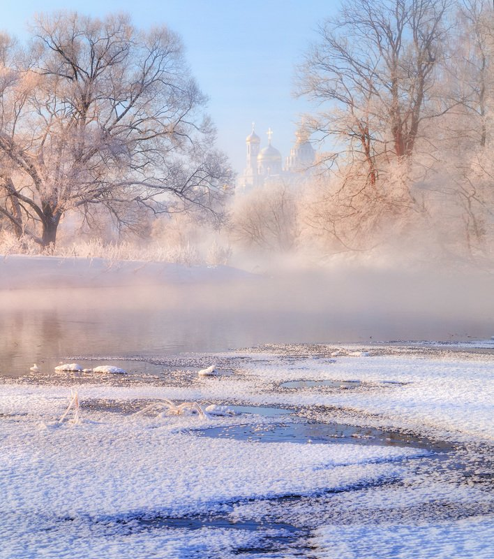 зима, утро, рассвет, река,туман, истра, новоиерусалимский, монастырь Утро на Истреphoto preview