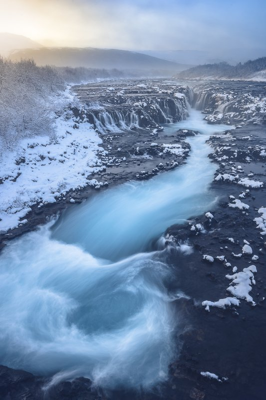 Iceland, waterfall, river, snow, frozen, ice, sunset Waterfall in Icelandphoto preview