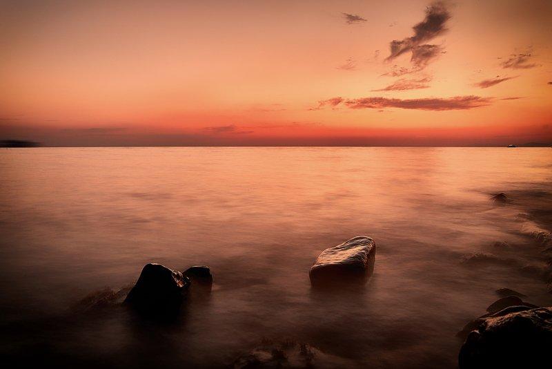 лето, закат, море, summer, sunset,sea, blacksea Закат над морем в бухте Джанхотphoto preview