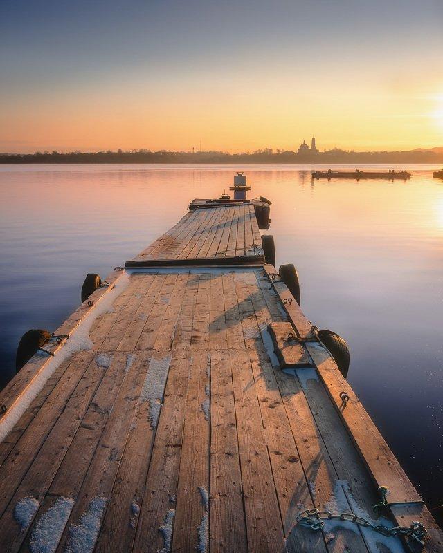 пермский край,осень,  река, россия, церковь, мост Пристаньphoto preview