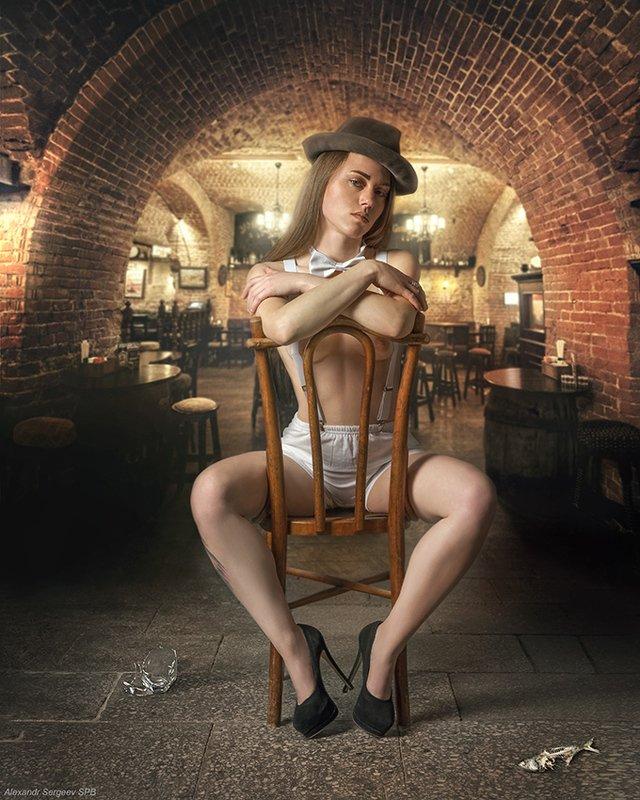 девушка,арт,ню-арт,официант,бар Тяжёлая смена...photo preview
