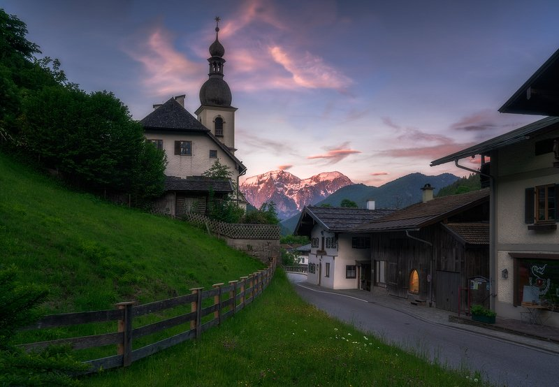 Alpen Glow, Bavaria, Bayern, Blue, Bushes, church, Church Tower, Clouds, Evening Glow, Fence, Forest, germany, Grass, Green, Madow, Mountai Range, Mountain Top, mountains, Outdoor, Pink, Ramsau, Ramsauer Kirche, River, Rocks, Snow, Snow Capped, street, Su Ramsau bei Berchtesgaden, Bavaria, Germanyphoto preview