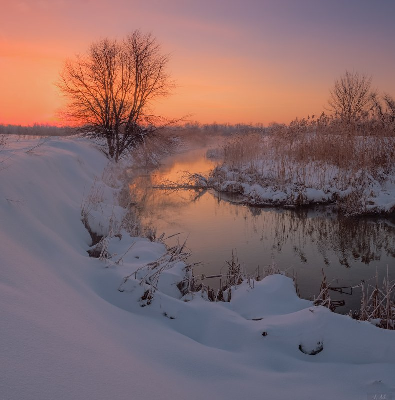 зима, рассвет, река, снег, пейзаж, Утро, зарево, зимний пейзаж, winter, Landscape, morning, dawn, sunrise, red, river, snow, frost, misty, light, colors \