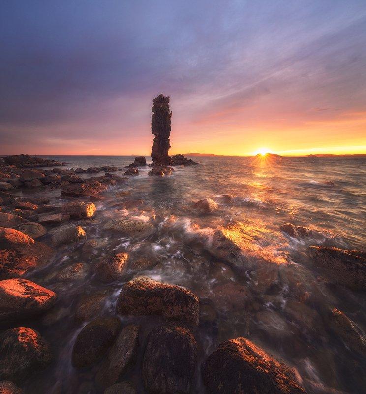 закат краски свет море остров шкота кекур камни волны пейзаж вечер морской пейзаж россия владивосток фото Закат на Шкота.photo preview