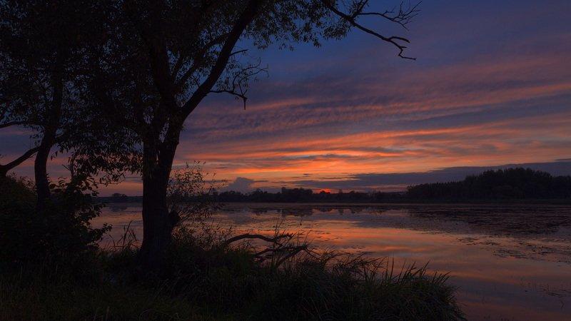 река клева, закат, зарево, лето, август Зарево заката над Клевойphoto preview