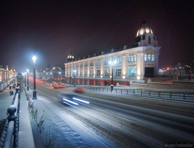 Омск, Россия, город, архитектура, снег, зима, ночь, Сибирь Снегопад в Омскеphoto preview