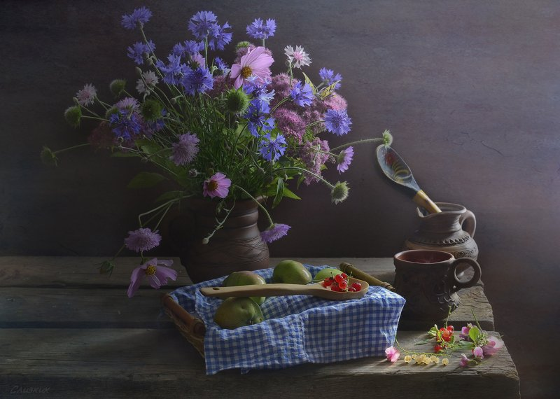 натюрморт,композиция,свет,лето,букет,керамика,ягода,смородина ***photo preview