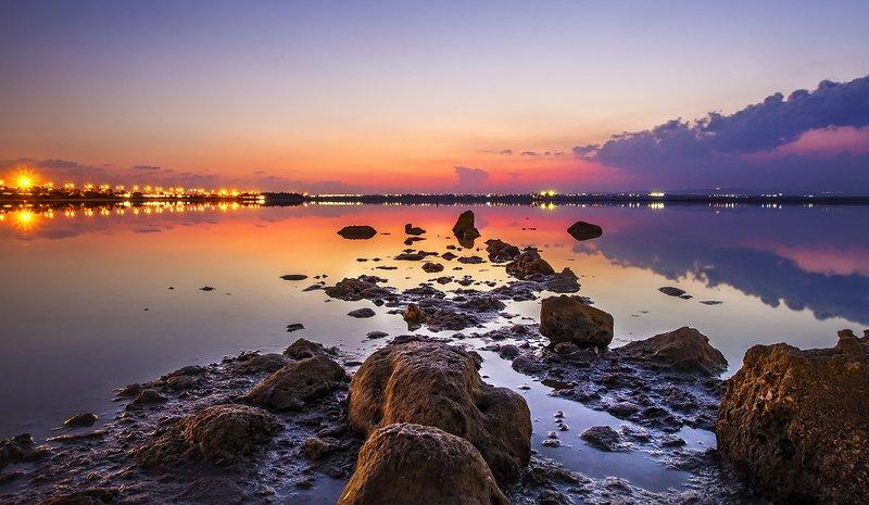 Ларнака, Кипр, Озеро, Соляное озеро, закат, Cyprus, Larnaca, Salt lake Соляное озеро в Ларнакаphoto preview