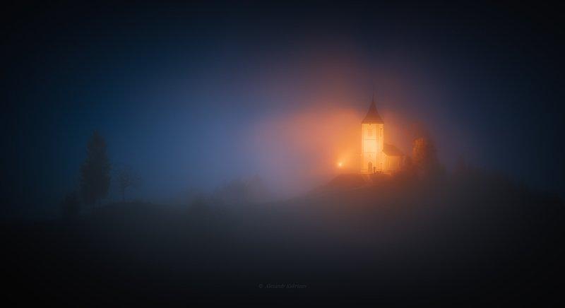 словения, осень, туман, пейзаж, Мистическая ночь...photo preview