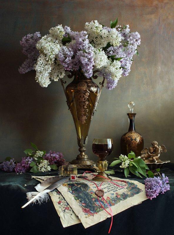 цветы, сирень, ваза, букет Натюрморт с цветамиphoto preview