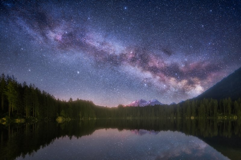 Bavaria, Berchtesgaden, Cloudless Night, Forest, Galaxy, germany, Hintersee, lake, Milky Way, Mountain Range, mountains, Night, Ramsau, Reflections, Rocks, Snow, snow-capped, snow-covered, starred, Starry, Starry Night, Stars, star-sprangled, trees, Water Infinityphoto preview