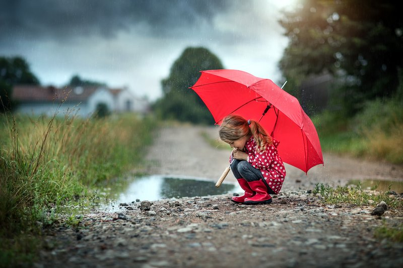 в дождливый день rainy day little girl cute umbrella red road path water в дождливый деньphoto preview