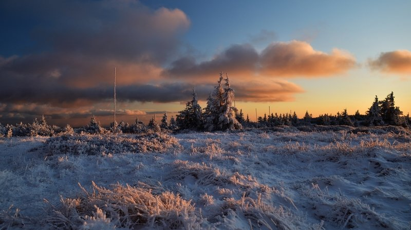 winter, snow, sunset, czech republic, At the end of the dayphoto preview