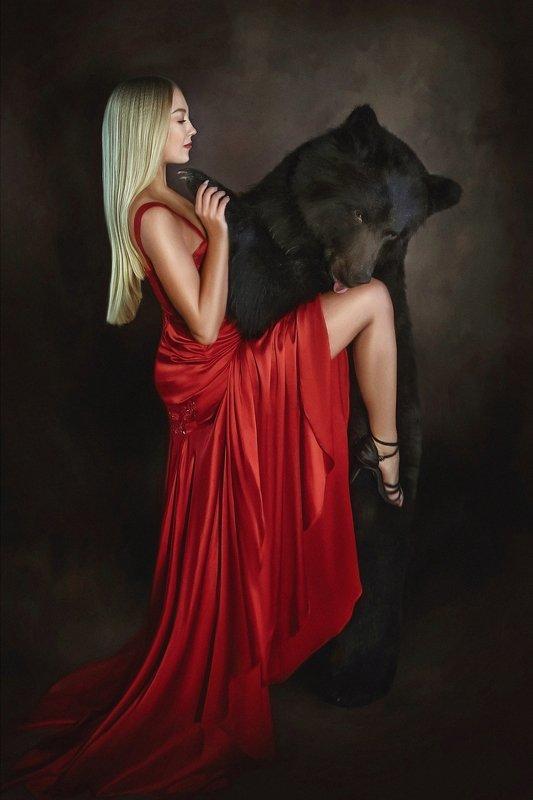 танго, медведь, красное платье, гламур, жанровое фото Танго с медведемphoto preview