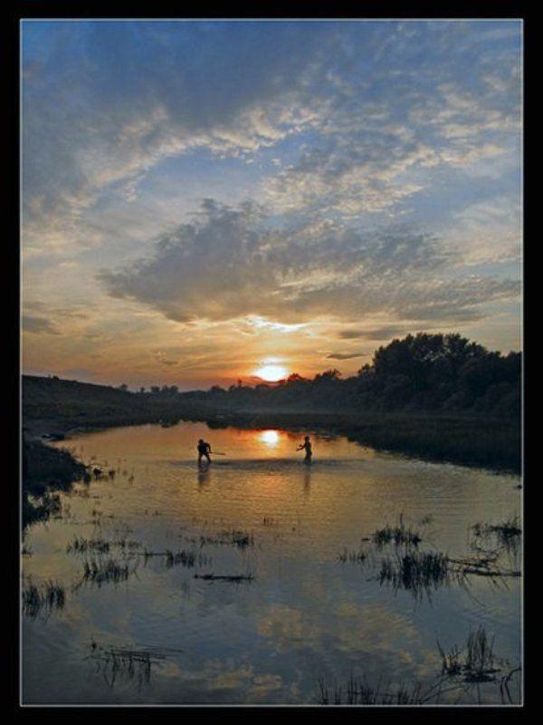 закат, река, природа photo preview