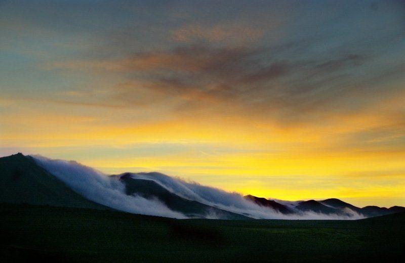 исландия, горы, закат, облака, туман, небо photo preview