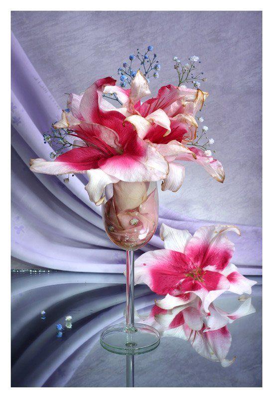 лилии, лепестки роз, световая кисть Коктейль из лилийphoto preview