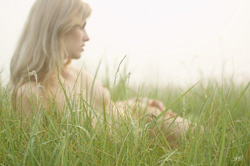девушка, роса, трава, утро, туман Свежесть утра...photo preview