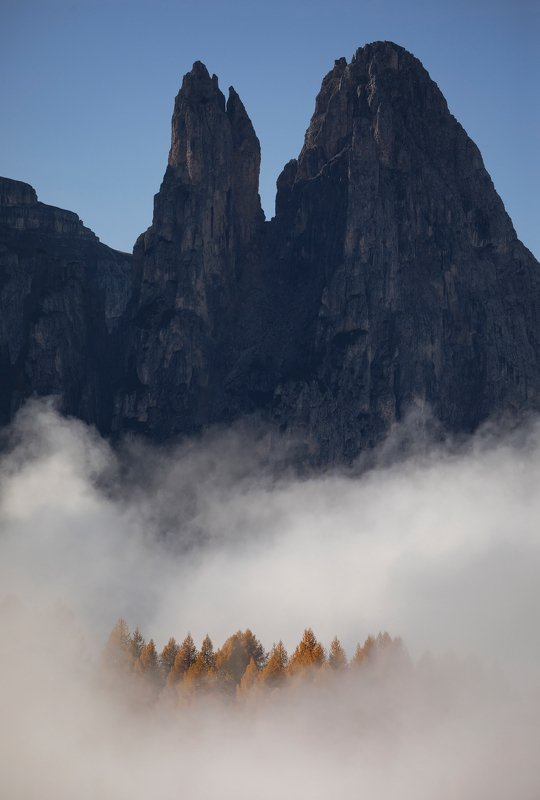 mountains, dolomites, italy, sunrise, landscape, nature, travel, autumn, peak, clouds, trees Levitationphoto preview