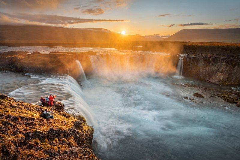 исландия, водопад, годафосс, iceland, waterfall, foss, godafoss, вечер, закат Закат на водопаде Годафоссphoto preview
