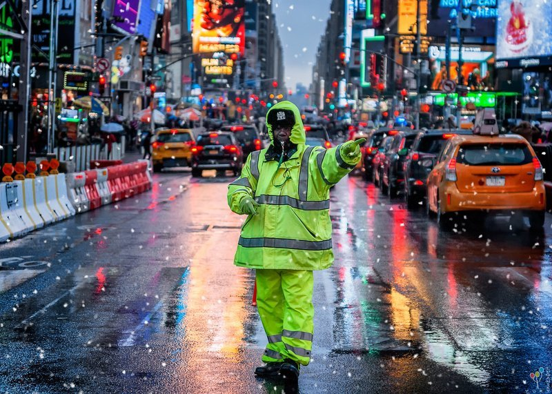 new york, times square Wet Snowphoto preview