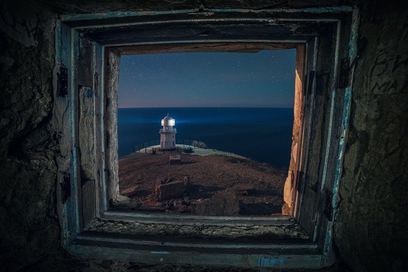 крым, меганом, маяк, ночь, Маяк на мысе Меганомphoto preview