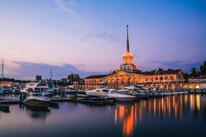 сочи, вода, море, порт, лодки, корабли, архитектура, закат Морской порт Сочиphoto preview