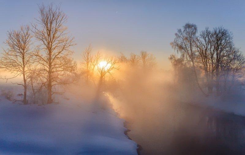 утро, зима, туман, солнце, рассвет, река Рассветphoto preview