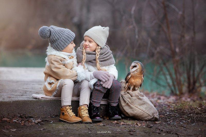 art photo, art, портрет, осень, autumn, ребенок, дети, животное, сова, птица, owl, радость, малыши, друзья, happy, любовь, love, love story, 105mm, kid, children, beautiful, people, eyes, face ***photo preview