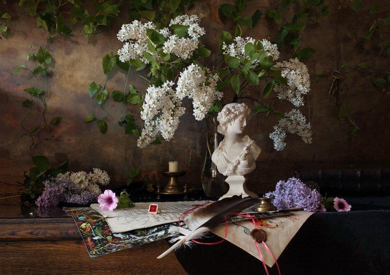 сирень, цветы, скульптура, девушка, белый, натюрморт Натюрморт с бюстом девушки и цветамиphoto preview