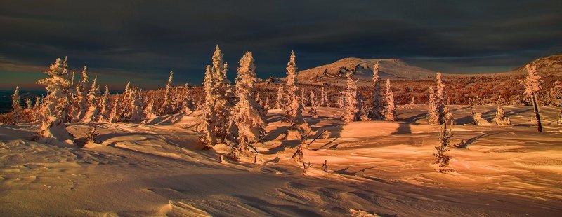 кузбасс, шерегеш, снег, закат, солнце, зима, горы, лес Шерегешское таинство заката.photo preview