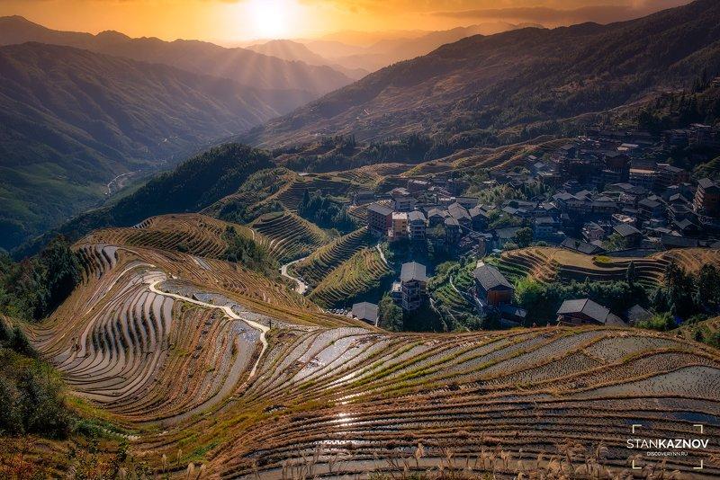 china, longji, sunset, китай, закат Закат над террасами Longjiphoto preview