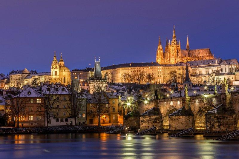 прага, ночь, огонь, утро, город, башня, карлов мост, река, вода, пражский град Прагаphoto preview