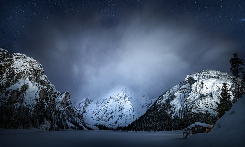 Lake Braies  is a winter night..photo preview