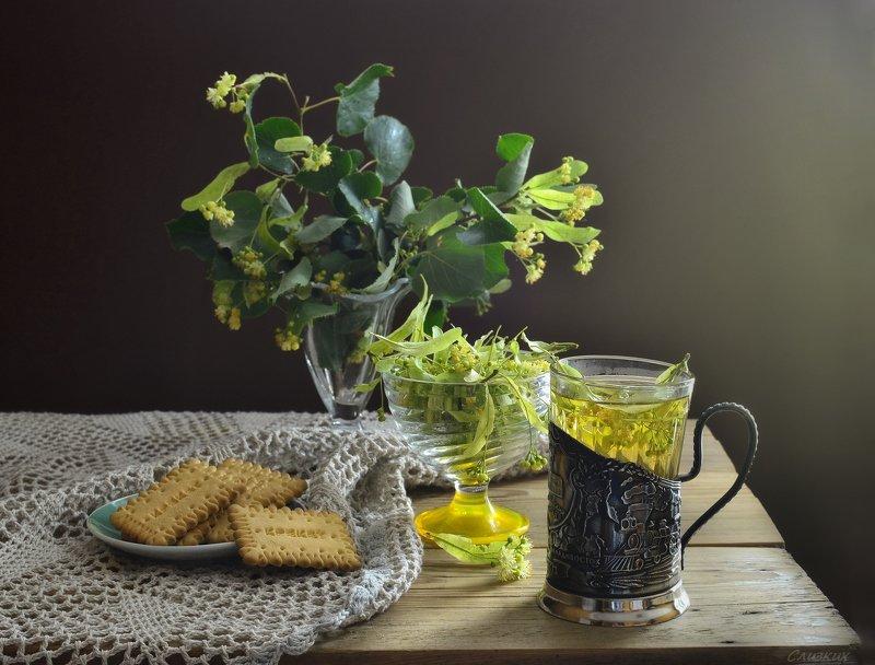 натюрморт,композиция,свет,лето,букет,липа,чай,стакан ***photo preview