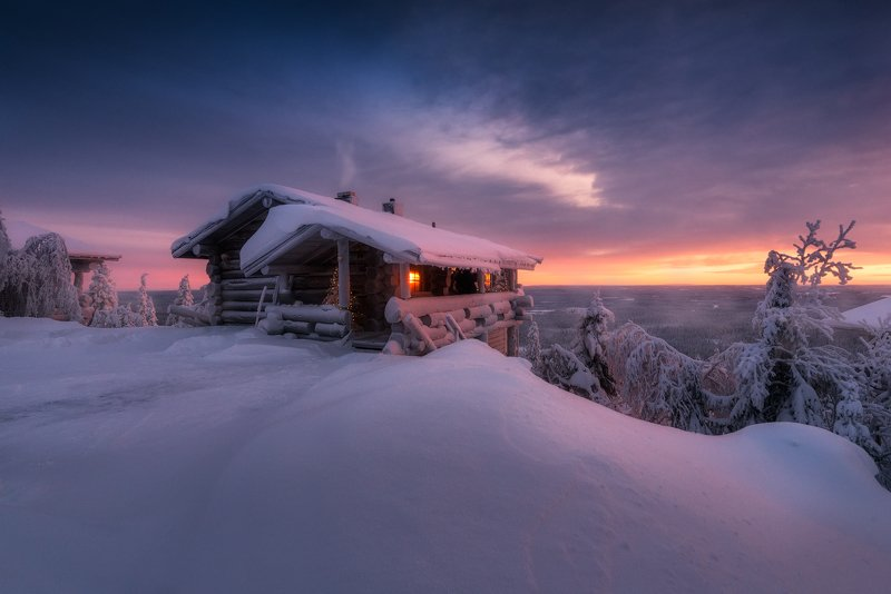 зима, снег, избушка, вечер, закат Избушка на краю земли.photo preview