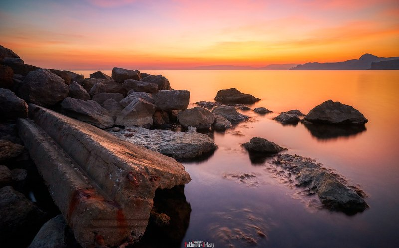 sea, landscape, color, sunset, water, stones, nature, outdoor, orange, red, russia, crimea, море, пейзаж, цвет, закат, камни, природа, россия, крым About stones and the sea ...photo preview