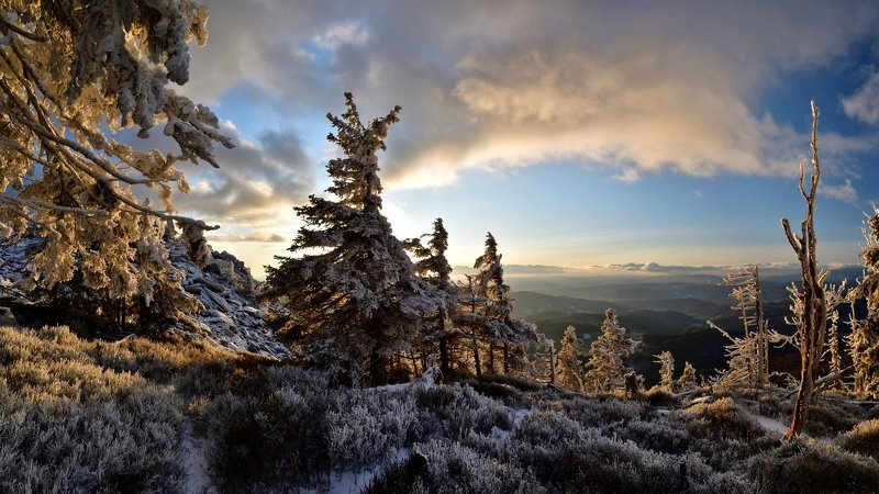 winter, snow, sunset, czech republic, Early winter countryphoto preview