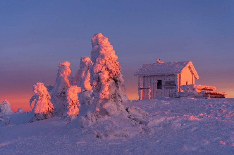 финляндия, лапландия Малиновый закатphoto preview