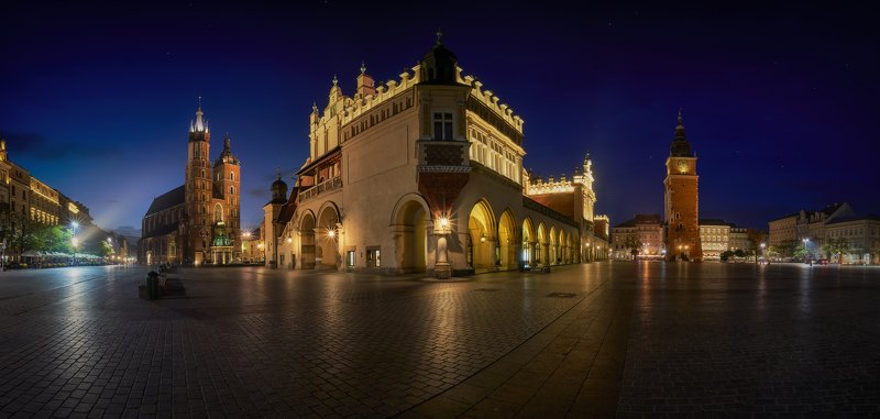 Panoramic, city, cityscape, lights, night, color, lights, architecture, street Krakow Panoramicphoto preview