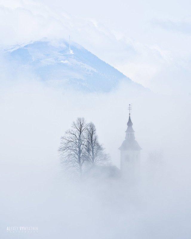 словаения, церковь, горы, туман, slovenia, church, fog, misty Revealing.. фото превью