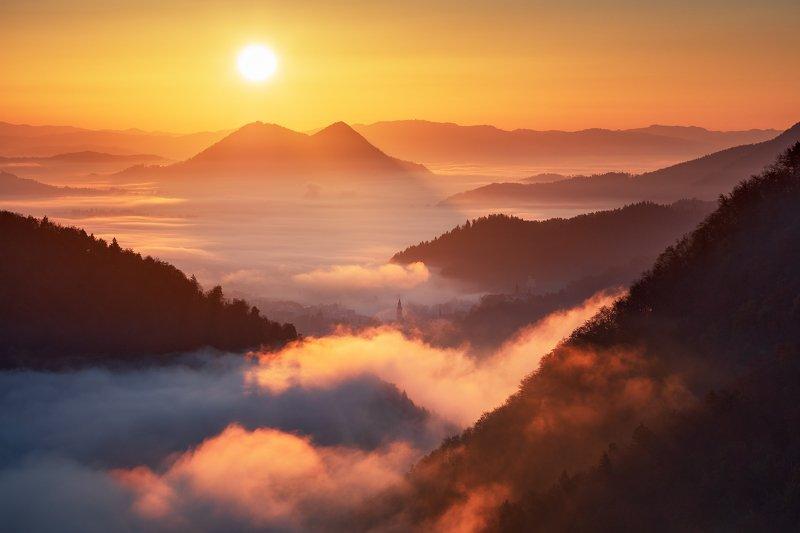 slovenia, light, morning, fog, autumn, fall, sunrise, hills, mountains, europe, sky, church, tower Good Morning!photo preview