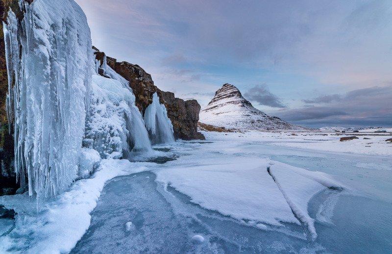 исландия, зима, лед, водопад Ледопадphoto preview