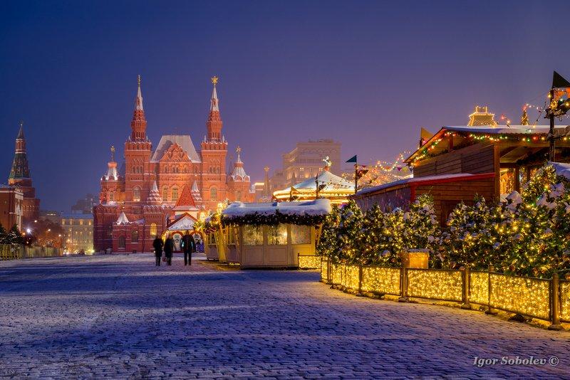 Исторический музей, Москва, Красная площадь, утро, зима, History Museum, Moscow, Red Square, morning, winter Зимняя ночь на Красной площадиphoto preview
