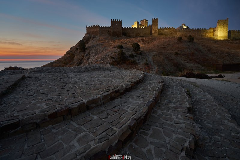 architecture, color, travel, fortress, walls, genoese, sudak, crimea, russia, dawn, city, landscape, outdoor, night, архитектура, цвет, рассвет, крепость, генуэзская, пейзаж, город, утро, ночь, крым, россия, судак Under the walls of the Genoese fortressphoto preview