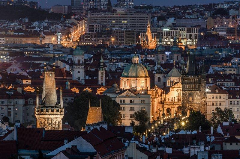 прага, ночь, город, башня, небо, облака, карлов мост, река, вода Ночная Прагаphoto preview