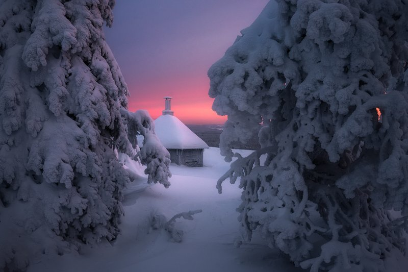 утро, снег, зима, рассвет, финляндия Зыбкий северный рассветphoto preview